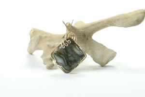 Marcasite square pendent wrapped in gold wire